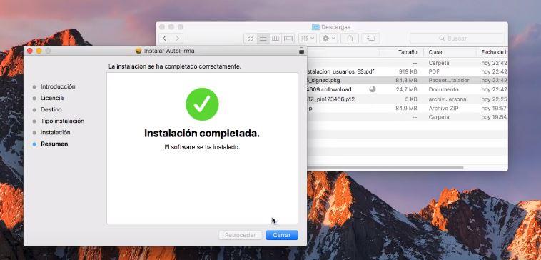 instalacion completada de autofirma en mac