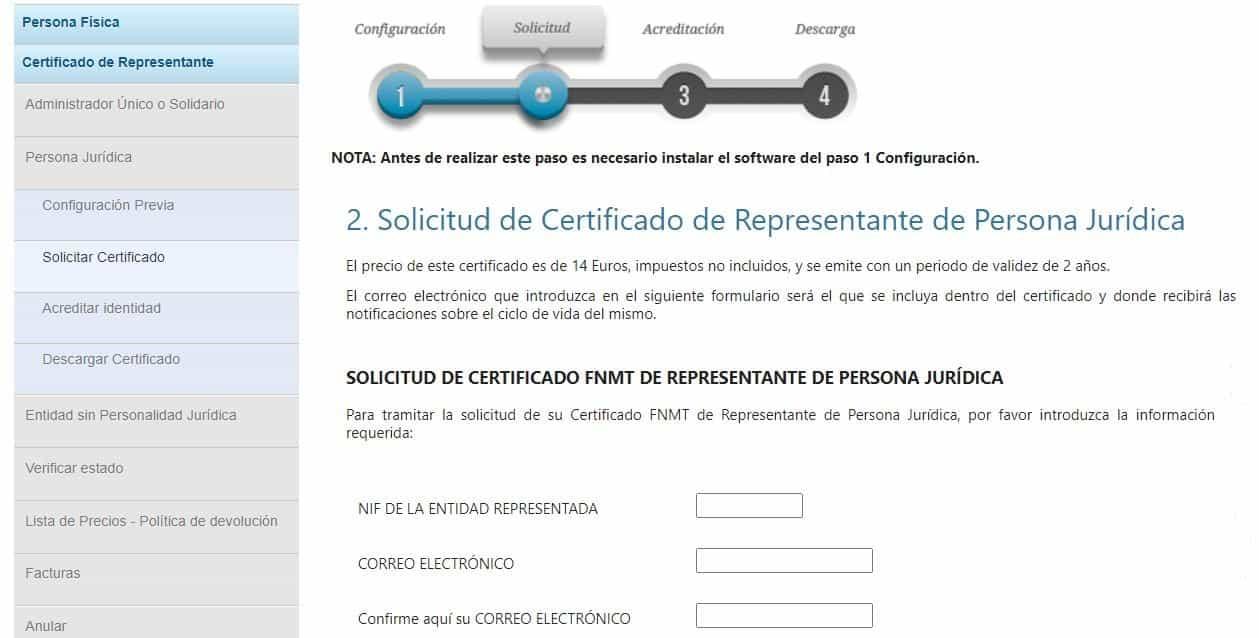 solicitud de certificado fnmt persona juridica